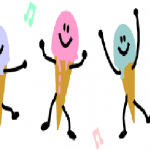 Ice Cream with musical notes