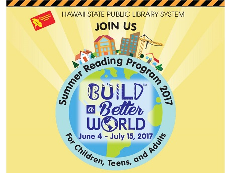 Summer Reading Program logo with globe and sun background