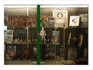 Star Wars models, books, and pictures in Kapolei Public Library first floor display case May 2017