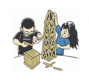 Children building with craft sticks.